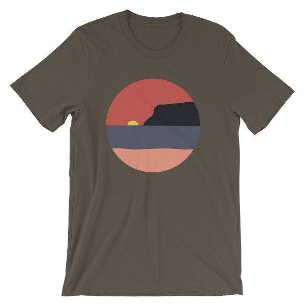 Coronado Sunset with Point Loma short-sleeve t-shirt (Army)