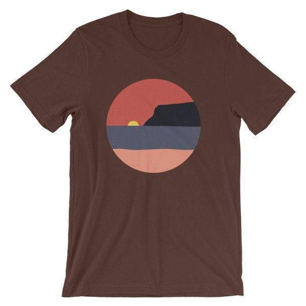 Coronado Sunset with Point Loma short-sleeve t-shirt (Brown)