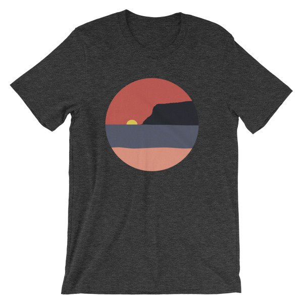 Coronado Sunset with Point Loma short-sleeve t-shirt (Dark Heather Grey)