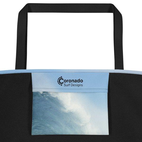 Coronado Blue Wave Beach Bag (Black handle, Inside pocket)