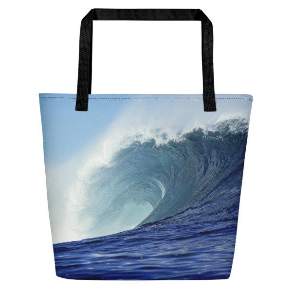 Coronado Blue Wave Beach Bag (Black handle, left side)