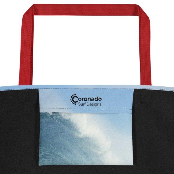 Coronado Blue Wave Beach Bag (Red handle, inside pocket)