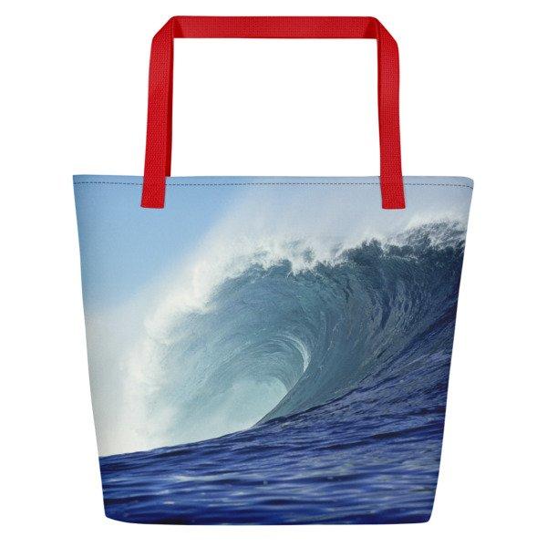 Coronado Blue Wave Beach Bag (Red handle, left side)