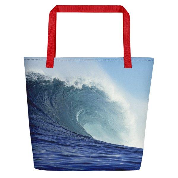 Coronado Blue Wave Beach Bag (Red handle, right side)