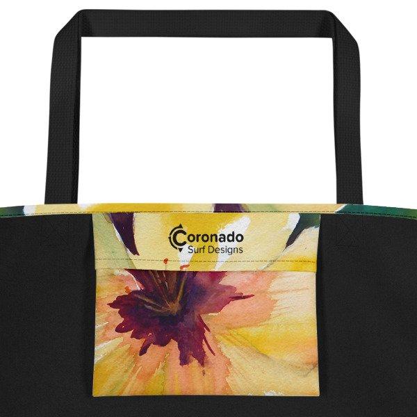 Coronado Hibiscus Flower Beach Bag (inside pocket, black handle)