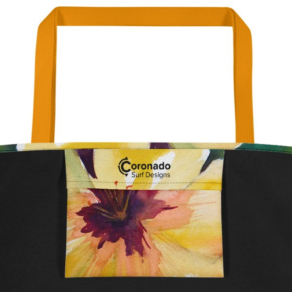 Coronado Hibiscus Flower Beach Bag (inside pocket, yellow handle)