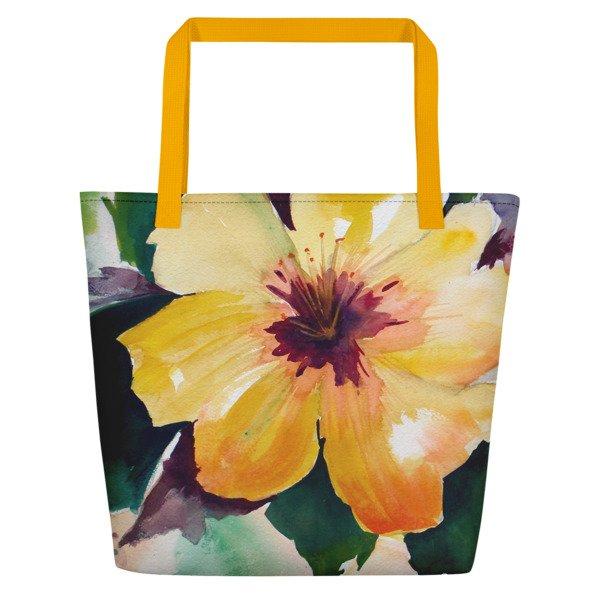 Coronado Hibiscus Flower Beach Bag (outside left, yellow handle)