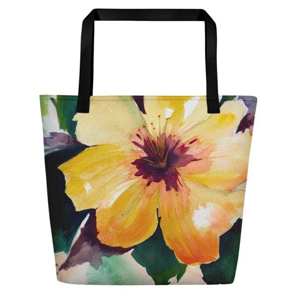 Coronado Hibiscus Flower Beach Bag (outside right, black handle)