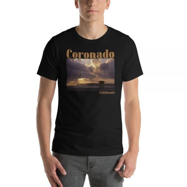 Coronado CA, Old Guard Sunset, Short-Sleeve Unisex T-Shirt-black