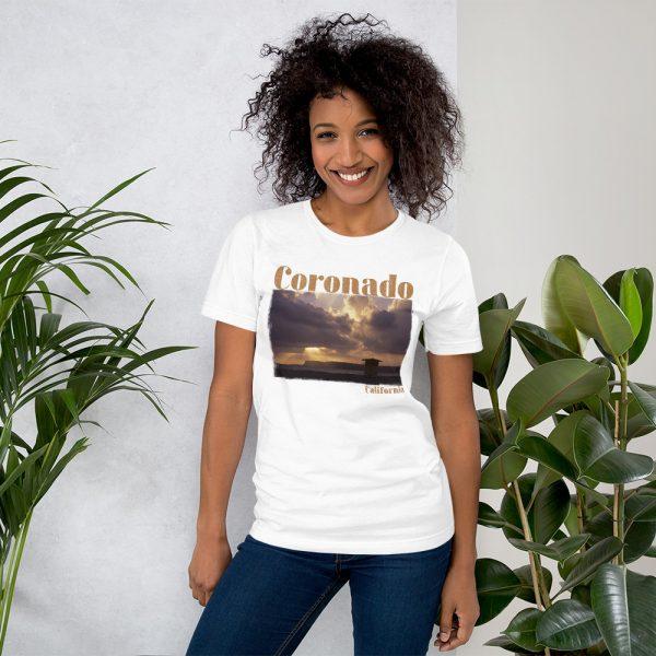 Coronado CA, Old Guard Sunset, Short-Sleeve Unisex T-Shirt-white