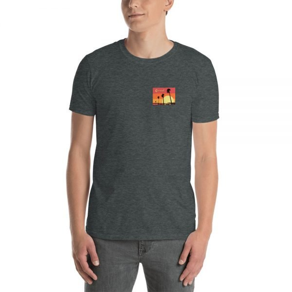 Coronado Sunset Palms Short-Sleeve Unisex T-Shirt (dark heather front)