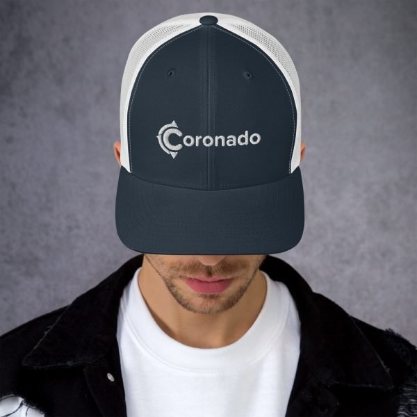Men's Coronado Trucker Hat (Navy White front)