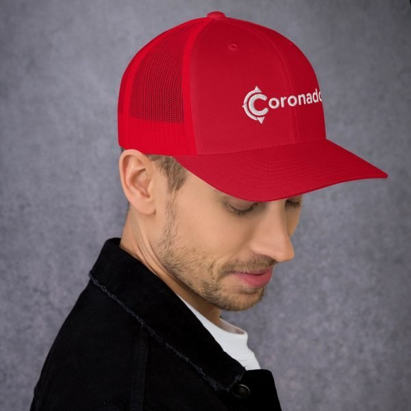Men's Coronado Trucker Hat (Red 3/4 side)