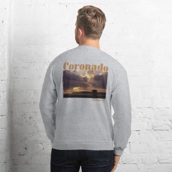 Coronado Lifeguard Tower Sweatshirt Unisex (Sport Grey Back)