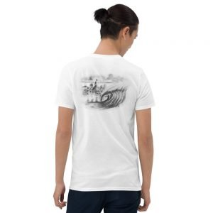 Hotel Del Coronado with Wave, Short-Sleeve Unisex T-Shirt (backside)