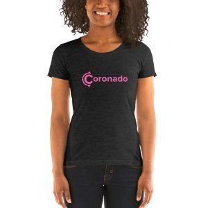 Coronado Logo Pink Ladies' Scoopneck T-Shirt (Charcoal Black Tri-blend)