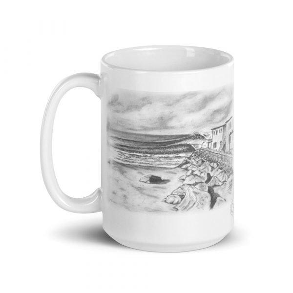 Pepperoni Point White glossy mug (15 oz) left side