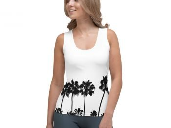 Women's Palm Tree Shirt; White Tank Top front