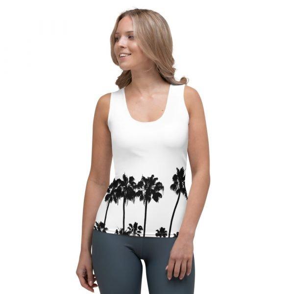 Women's Palm Tree Shirt; White Tank Top front