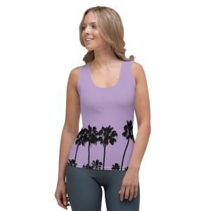 Women's Tank Top with Palm Trees (Purple) front