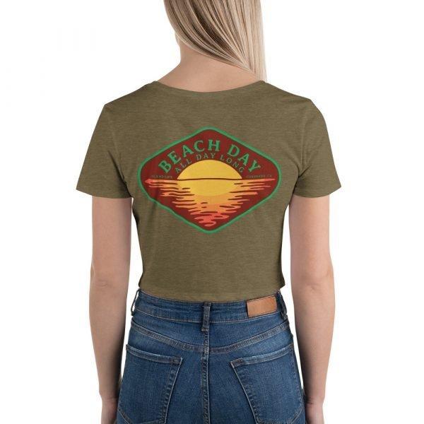 Beach Day Crop Shirt (olive back)