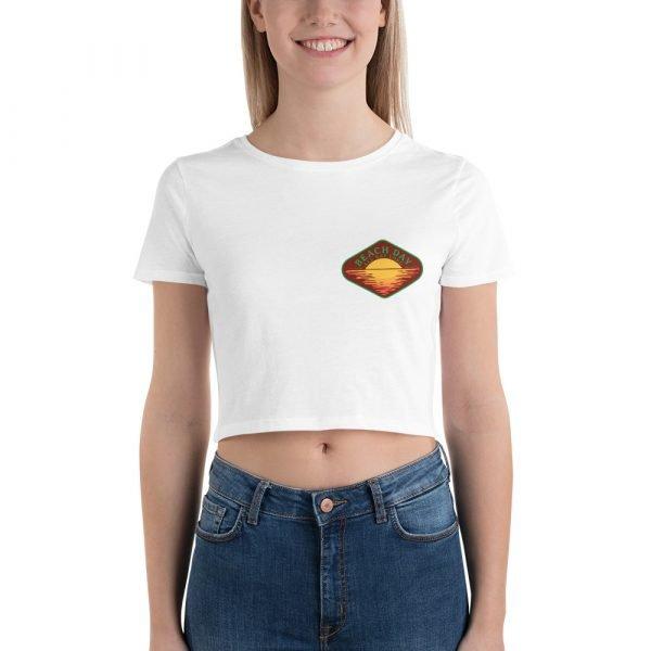 Beach Day Crop Shirt (white front)
