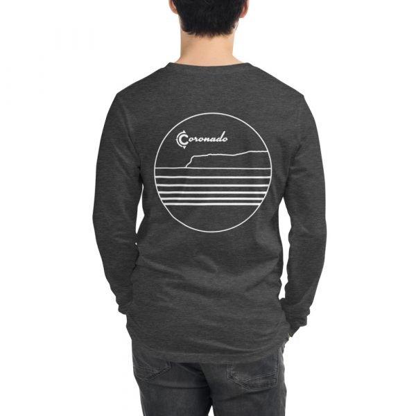 Coronado Outlines Long Sleeve Unisex T-shirt (Grey Heather) back