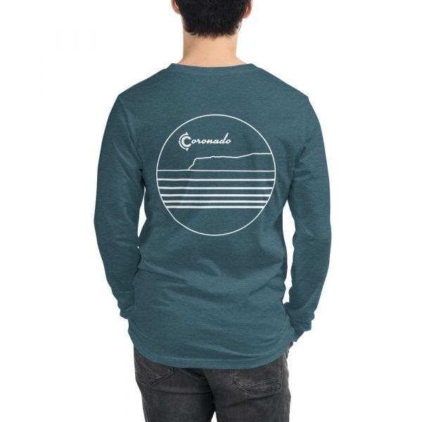 Coronado Outlines Long Sleeve Unisex T-shirt (Heather Deep Teal) back