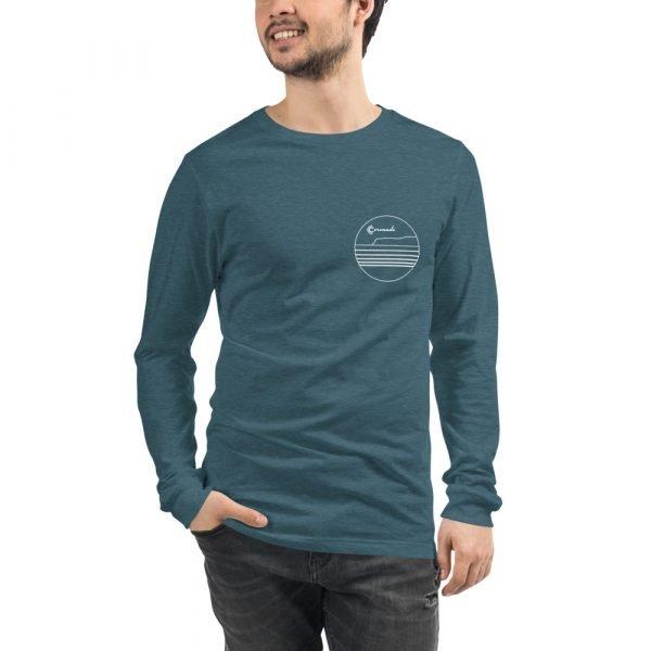 Coronado Outlines Long Sleeve Unisex T-shirt (Heather Deep Teal) front