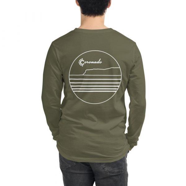 Coronado Outlines Long Sleeve Unisex T-shirt (Military Green) back