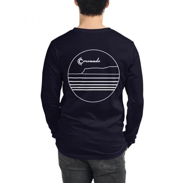Coronado Outlines Long Sleeve Unisex T-shirt (Navy) back
